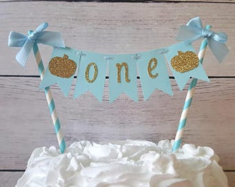Little Pumpkin Party Decorations, Blue and Gold Little Pumpkin, Boy Little Pumpkin Decorations, Boy Little Pumpkin Birthday, Pumpkin Topper