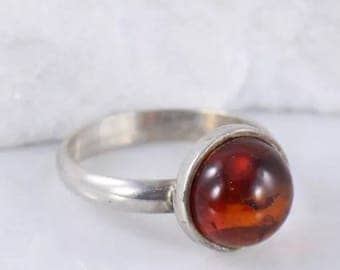 Red baltic amber bezel set sterling silver ring