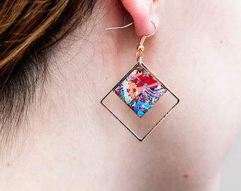 Rose gold earrings, drop earrings, Art deco, unique jewelry, unusual earrings, unique gifts, gifts for her, pink gold jewellery, geometric