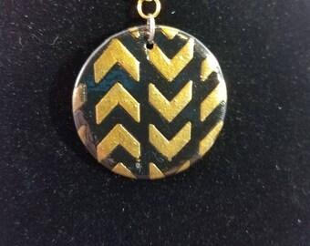 Gold and Black Chevron Pendant