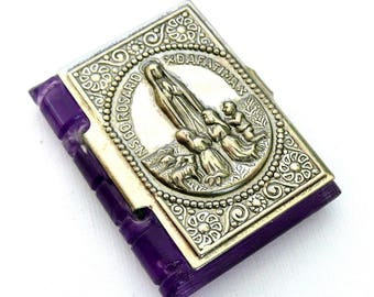 Vintage Miniature 1950s Violet Rosary Case, Our Lady of Fatima