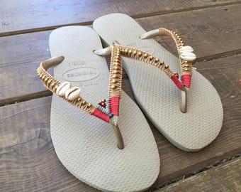 Boho sandals. woman flip flops. Havaianas flip flops. Macrame. woman beach sandal. summer sandal for women.