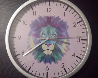 clock wall pattern lion design