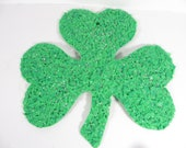 Vintage Melted Popcorn Green Shamrock  - Plastic St. Patrick's Day Shamrock Wall Plaque