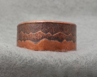 Hand Forged Copper Smokey Mountain Ring, Textured Wedding Ring, unique organic band, original design, US size 12 ready to ship, silversmith