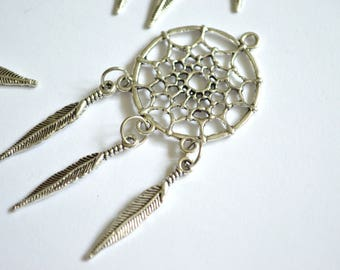 5 x Dreamcatcher & Feather Pendants ~ Antique Silver ~ Lead and Nickel Free