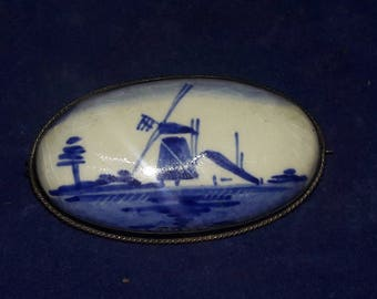 Vintage Sterling Silver & Dutch Delft Windmill Brooch Pin