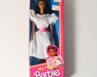 Vintage Mattel 1984 My First Barbie Doll #9858 Black African American, NRFB NOS