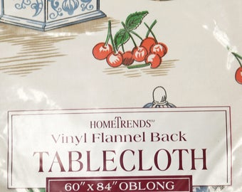 Home Trends Vinyl Flannel Back Tablecloth - Old Time Country 60 x 84 Oblong New