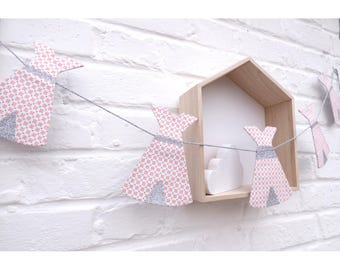 Garland tipis coral pink cross, kids room decoration, nursery wall decor