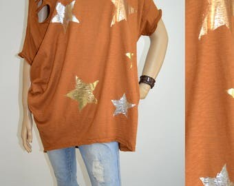 40 42 44 46 / 12 14 16 18 Italian Boutique Cotton Lagenlook T-Shirt Tunic Stars Modern