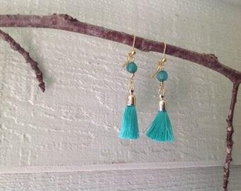 Gemstone and tassel earrings