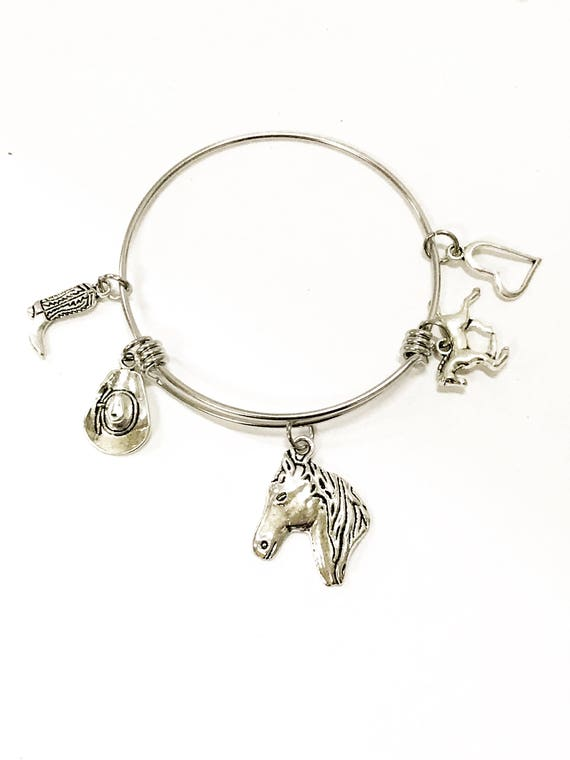 Horse Lover Cowgirl Equestrian Stackable Expandable Bangle Charm Bracelet Gift For Her, Cowgirl Jewelry, Horse Lover, Southwestern Style