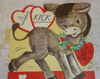 ON SALE till 7/28 Vintage Donkey Valentine Card