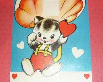 60% off till 8/15 Kitten Dropping in on Parachute Valentine - Vintage 1950s
