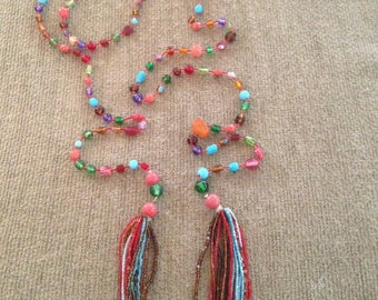 Long Bead and String Lariat Necklace
