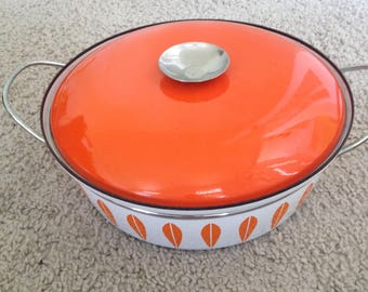Cathrineholm Orange and White Shallow Dutch Oven with Handles