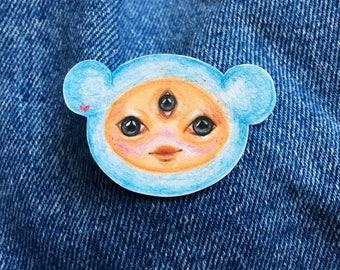 Hand Drawn Blue Bear pin ~ Original Artwork