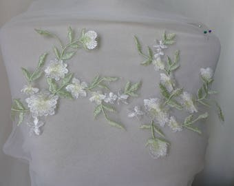 Floral Venice Lace Applique On Organza For Bridal Gown, Embellishment Decoration, Supplies Sewing Venice Lace
