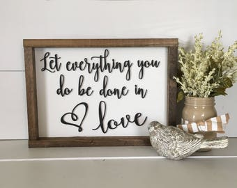 Wall Decor,  Wood Wall Art, Wood Wall Decor, Let everything you do be done in love, Christian wall art, Bible verse wall art, Christmas Gift