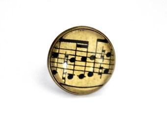 """Old music sheet"" Bohemian ring adjustable retro brass cabochon"