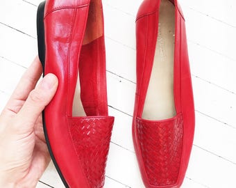 Cherry red leather Enzo Angiolini flats. Size 8.5z