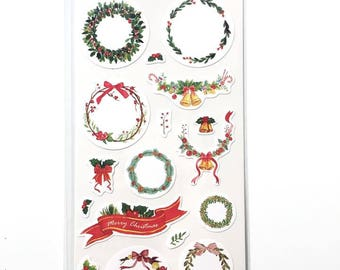 Stickers: Traditional Christmas Wreaths and Garlands