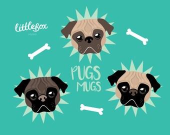 Pug - Clip Art - Instant Download