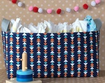 Diaper Storage Caddy. Trendy Nursery Decor. Large Fabric Diaper Bin. Fabric Storage Basket. Nursery Storage Bin. Gift for Baby. Navy Nursery