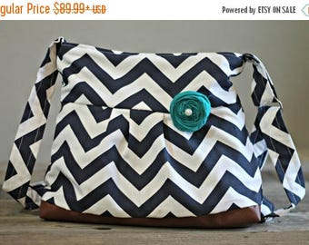 CHRISTMAS SALE Conceal Carry Purse, Medium Messenger Bag, Navy Chevron, Conceal Carry Handbag, Concealed Carry Purse, Conceal and Carry