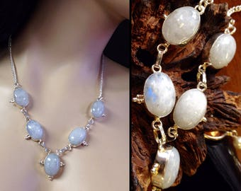 Blue flash Rainbow Moonstone Necklace in Sterling Silver filigree  .925  18 1/2""