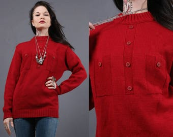 Vintage woolen sweaters - Worsted Wool  - deep red sweater - Vintage 50s - loose sweater - geeky things- nerdy things- solid sweater