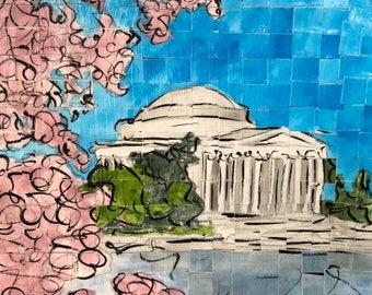 "Washington DC- Jefferson Memorial - Architectural Art: 8""x8"" Original Painting"