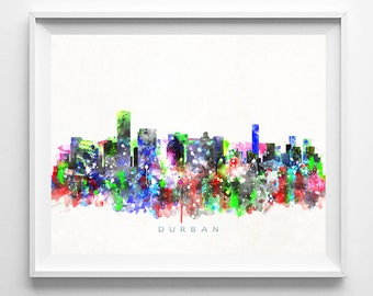 Durban Skyline, Art Print, South Africa Poster, Durban Print, Watercolor Art, Cityscape, Wall Art, Home Decor, Mothers Day Gift