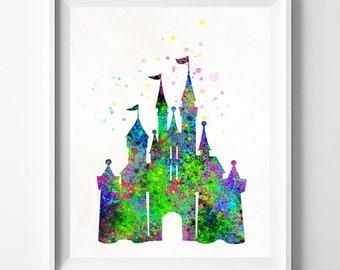Disney Castle Poster, Disney Castle, Disney Castle Art, Watercolor Art, Baby Room Poster, Nursery Art, Watercolour Art, Mothers Day Gift