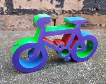 Wooden Bicycle, 13.6 cm x 8 cm, multi colours
