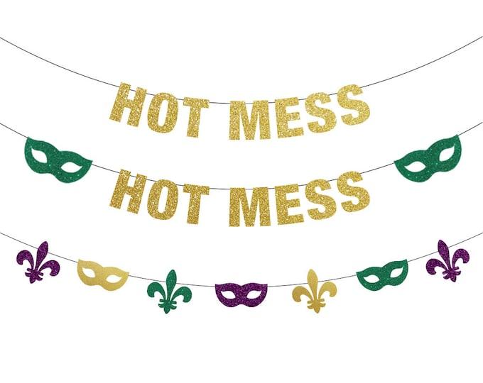 Hot Mess Banner, Mardi Gras Decorations, Mardi Gras Banner, Mardi Gras Bachelorette, Mardi Gras Backdrop, Fat Tuesday, Mardi Gras