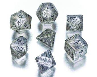 Elven Transparent Dice Set, D&D, Dice Set, Dungeons and Dragons, Transparent RPG Dice, Geek, Geeky, DND, geekery