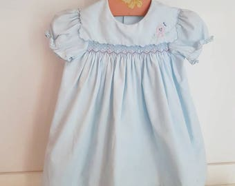 Vintage smocked baby dress with embroidered dog 18 months
