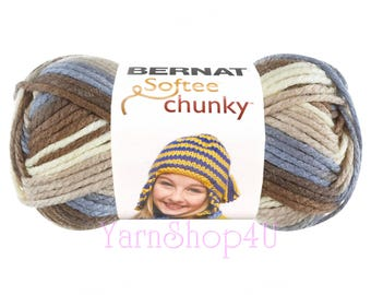 NATURE'S WAY OMBRE. Bernat Softee Chunky Super Bulky Yarn, This Thick Acrylic Quick yarn will work up quickly for knit and crochet projects.