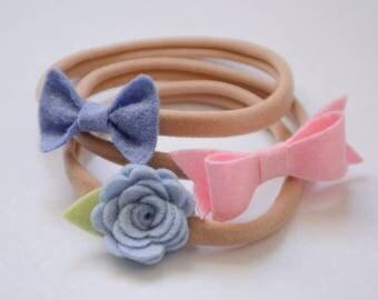 Felt flower headband, Baby Headband, Felt Flowers, Felt Garland Headband, Baby Girl Headband, Baby Shower Gift, Little Bow, Newborn Headband