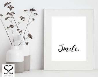 Typography | Digital Download | Digital Art | Digital Prints | Typography Wall Art | Typography Print | Downloadable Prints | Smile