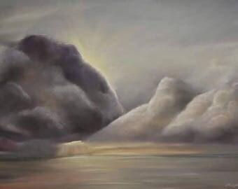 Sea Daybreak - Digital Download/ Seascape, sea art, clouds, sunrise, water, storm, wall art, print at home
