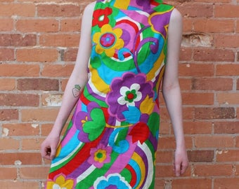 Go-Go Dancer Vintage 1960s Psychedelic Mini Dress