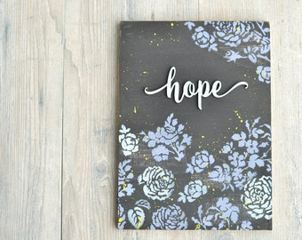 Black Painted Wood Sign with Lavender and Blue Flowers. Hope.
