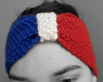 Patriotic headband/ red white and blue / knitted