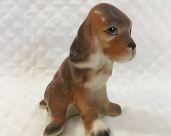 "Spaniel Porcelain Figurine, Cocker Spaniel Figurine, Ceramic Cocker Spaniel, Dog Figurine, Dog Collectible, Mid Century, 2.5"" tall"