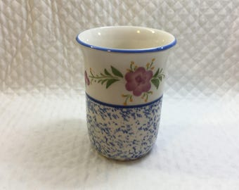 Alcobaca Ceramic Potter Tumbler Vase Glass, Cobalt Blue and Pink,Sponged Base, Blue Rim, Made in Portugal, #1100, Portuguese Pottery