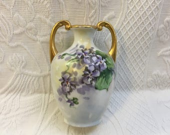 Weimar Germany Vase, Hand Painted Purple Pansies & Green Leaves, #469, Gold Trim, Urn Shaped, 2 Handles, Early 20th Century