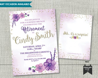 Custom watercolor floral design invitations. Any occasion and age birthday, retirement 40, 50, 60, 65, 70, 75, 80 Digital or Printed 5x7